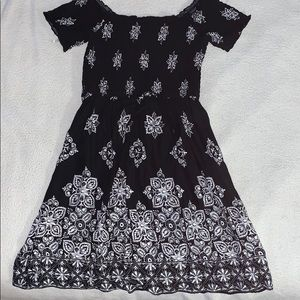 Black off the shoulder dress with white print